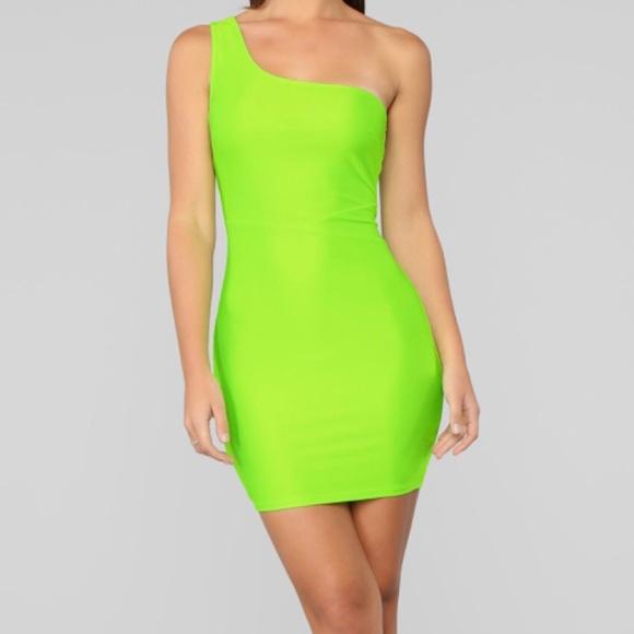 Neon Green One Shoulder Mini Dress